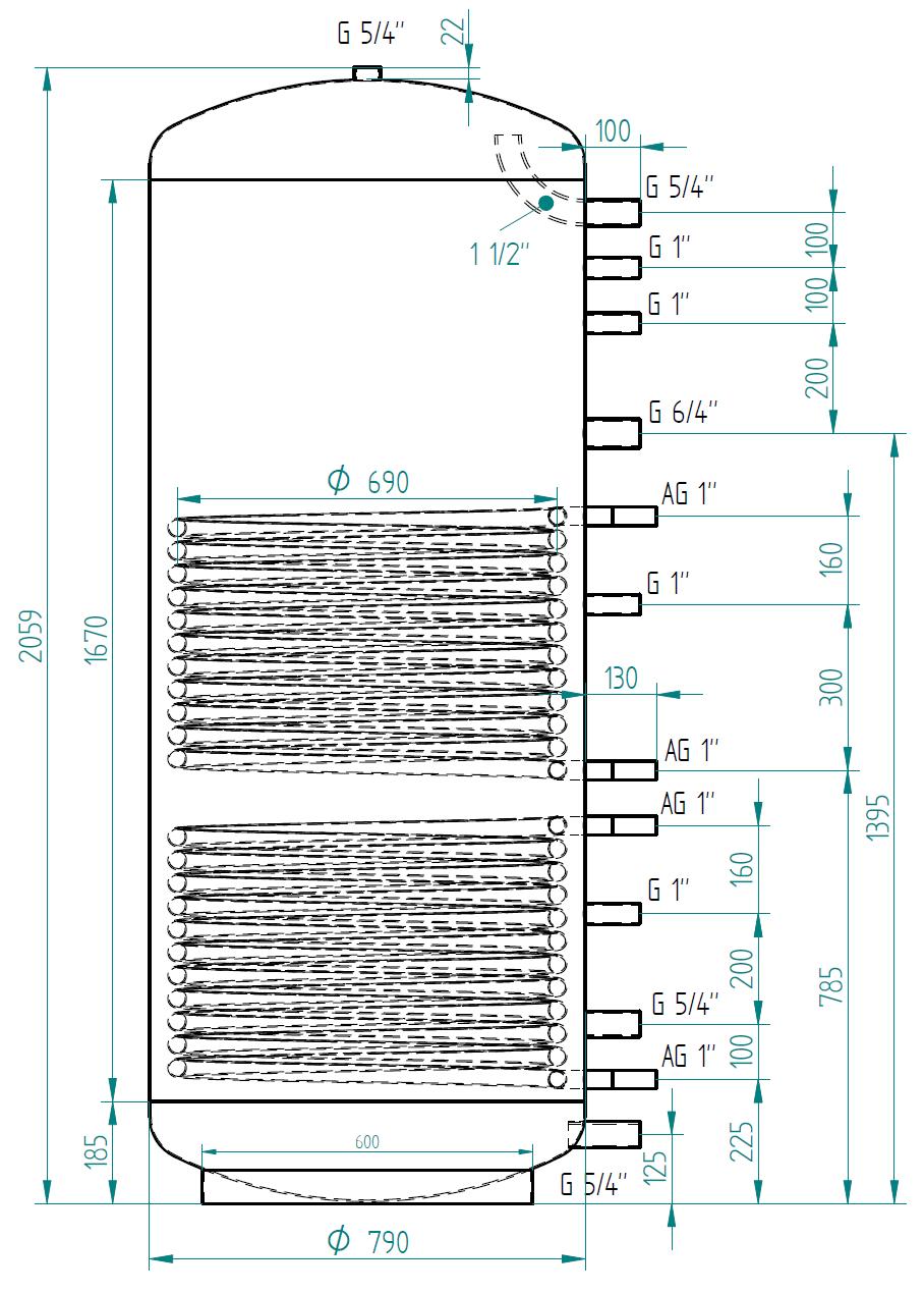 Akumulačná nádrž 1000l so 2 výmenníkmi