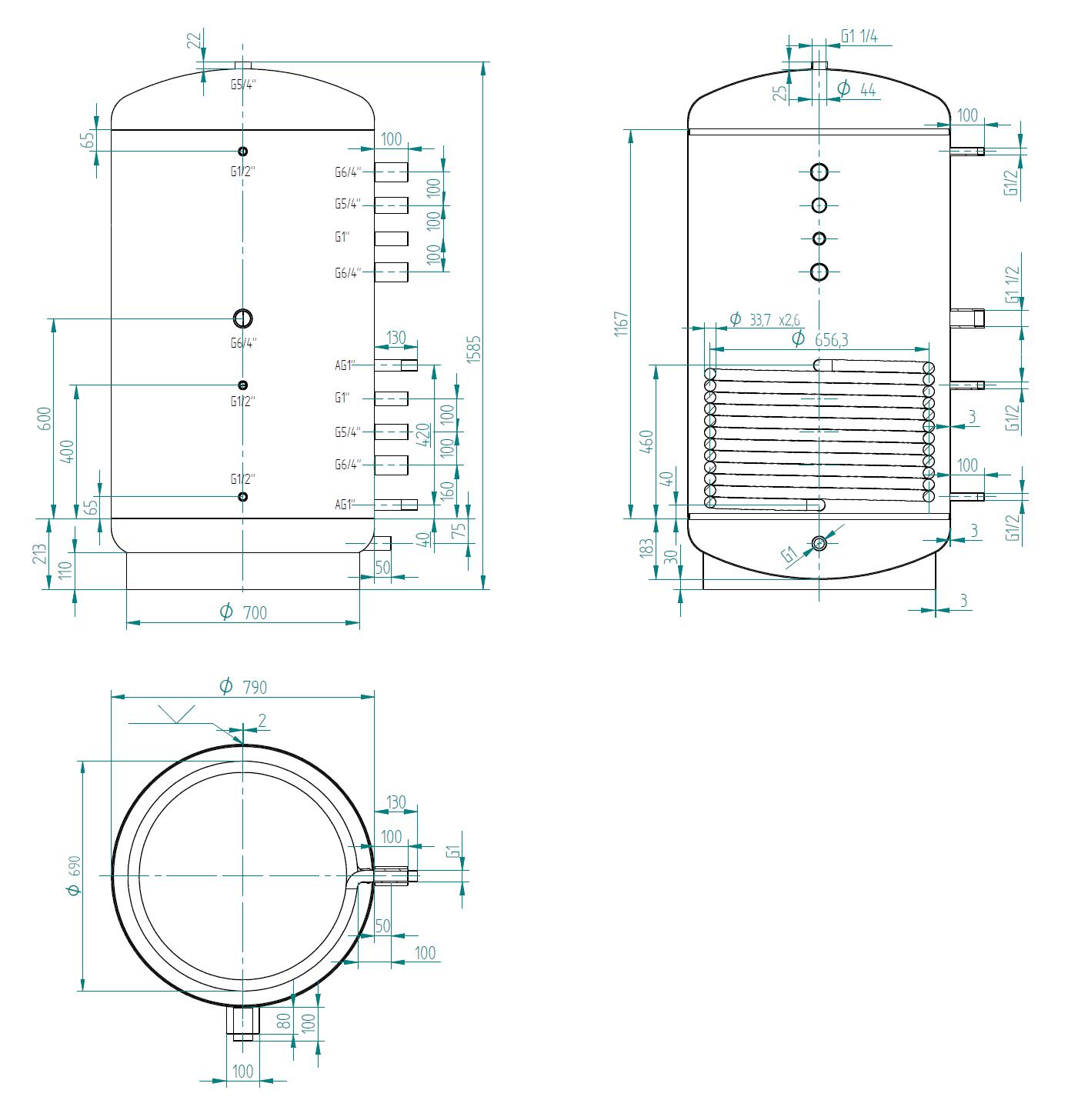 Nízka akumulačná nádrž 750l s výmenníkom