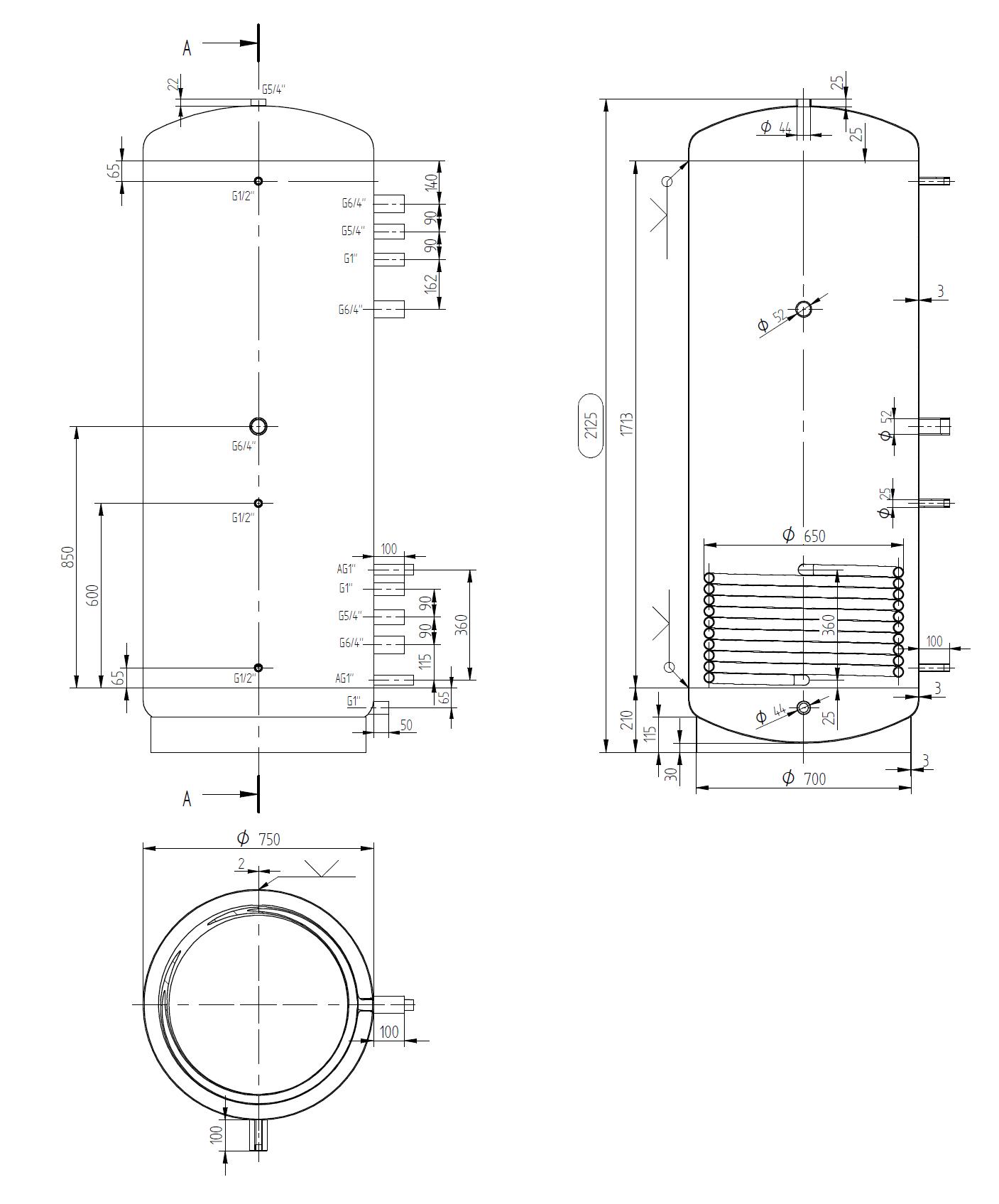 Úzka akumulačná nádrž 900l s výmenníkom