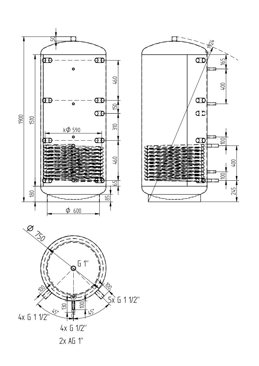 Akumulačná nádrž 750l s 1 výmenníkom
