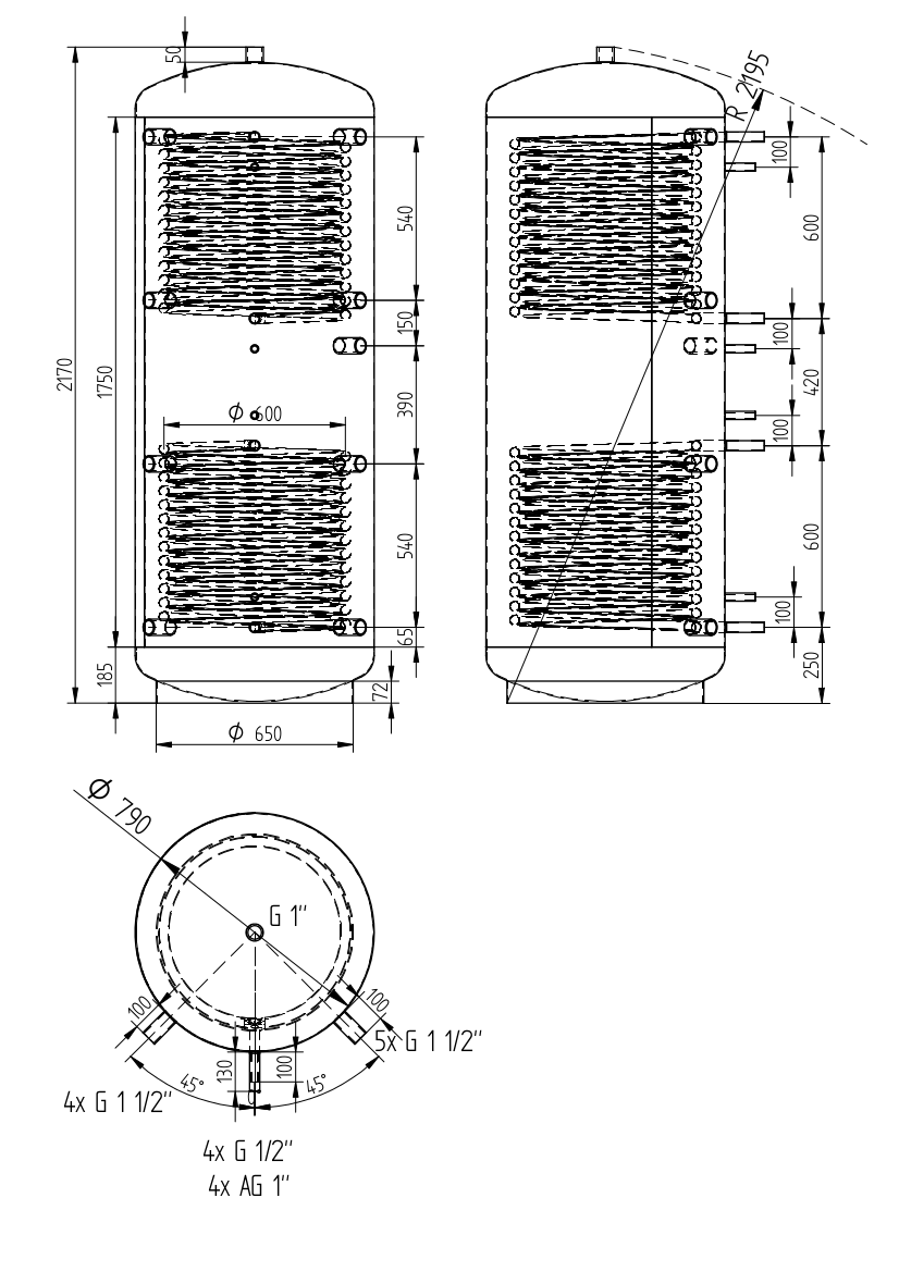 Akumulačná nádrž 1000l s 2 výmenníkmi